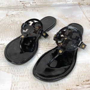 Tory Burch Miller patent sandals black 9.5